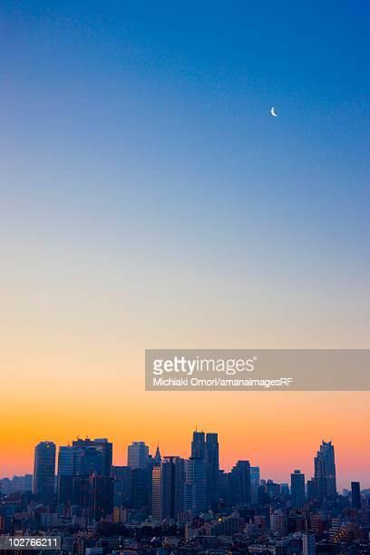 The Shinjuku building group at sunrise, Shinjuku, Tokyo, Japan.