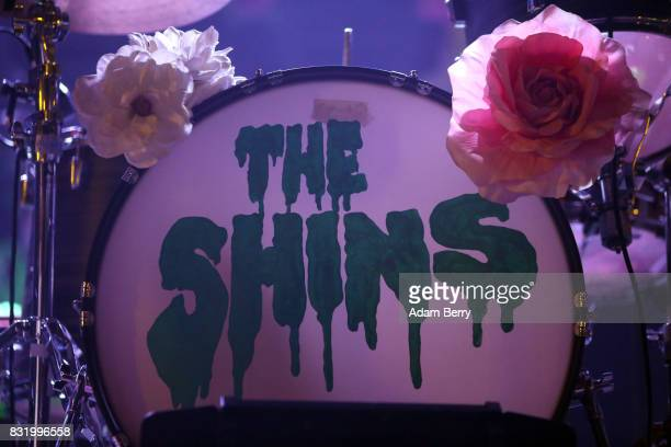 The Shins' bass drum head is seen during a concert at Huxleys Neue Welt on August 15 2017 in Berlin Germany