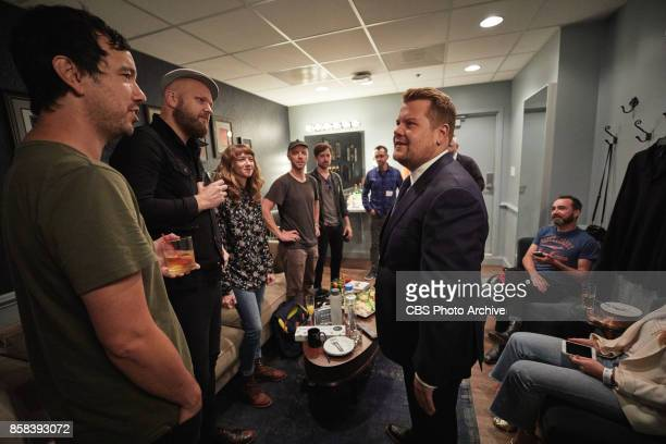 The Shins chat in the green room with James Corden during 'The Late Late Show with James Corden' Monday October 2 2017 On The CBS Television Network