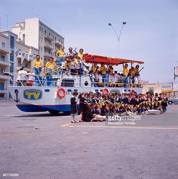 The ship of the magazine TV Sorrisi e Canzoni following the Giro d'Italia Italy 1976