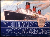 The ship The Queen Mary is promoted with this illustrated cover produced circa 1925 in Southampton England