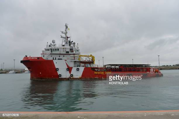 PORT CORIGLIANO CALABRIA ITALY The ship Vos Hestia of Save The Children during the landing in the port of Corigliano Calabria southern Italy The...