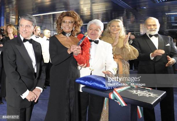 The ships owner Gianluigi Aponte actress Sophia Loren as she christens the ship Captain Ferdinando Ponti and Prince and Princess Michael of Kent...