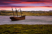 The Shipwreck of Lady Elizabeth in Whale Bone Cove in Port Stanley Harbour, Falkland Islands, British Overseas Territory