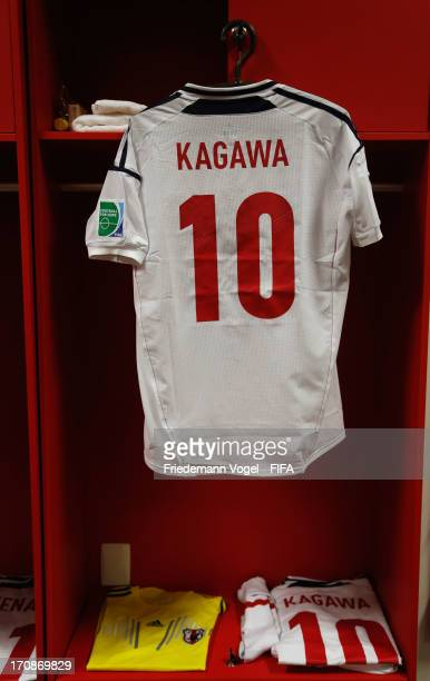 The shirt and kit of Shinji Kagawa on display in the Japan changing room prior to the FIFA Confederations Cup Brazil 2013 Group A match between Italy...