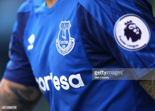 The shirt crest of Everton is seen during the Premier League match between Everton and Stoke City at Goodison Park on August 12 2017 in Liverpool...