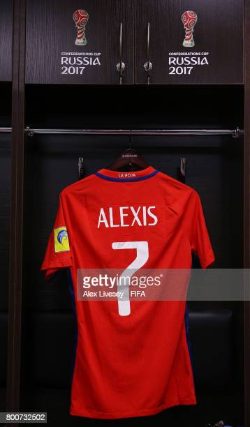 The shirt of Alexis Sanchez of Chile hangs in the Chile changing room prior to the FIFA Confederations Cup Russia 2017 Group B match between Chile...