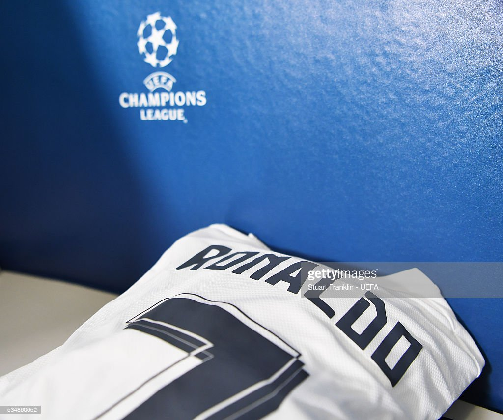 The shirt of <a gi-track='captionPersonalityLinkClicked' href=/galleries/search?phrase=Cristiano+Ronaldo+-+Soccer+Player&family=editorial&specificpeople=162689 ng-click='$event.stopPropagation()'>Cristiano Ronaldo</a> of Real Madrid is seen in the dressing room prior the UEFA Champions League Final match between Real Madrid and Club Atletico de Madrid at Stadio Giuseppe Meazza on May 28, 2016 in Milan, Italy.