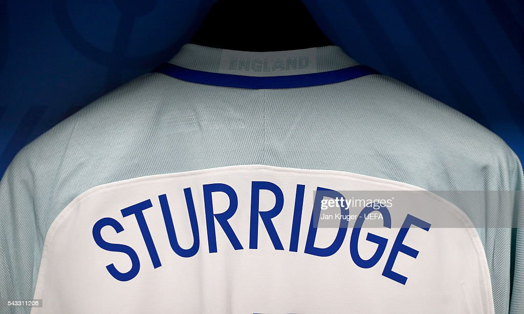 The shirt of Daniel Sturridge is hung in the England dressing room prior to the UEFA EURO 2016 round of 16 match between England and Iceland at Allianz Riviera Stadium on June 27, 2016 in Nice, France.