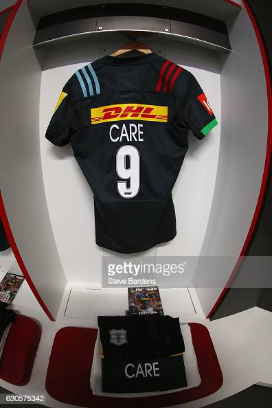 The shirt of Danny Care of Harlequins hangs in the dressing room prior to the Aviva Premiership Big Game 9 match between Harlequins and Gloucester...