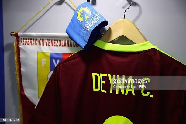 The shirt of Deyna Castellanos of Venezuela hanging up in the dressing room during the FIFA U17 Women's World Cup Jordan 2016 Quarter Final match...