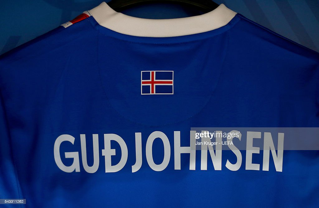 The shirt of Eidur Gudjohnsen is seen in the Iceland dressing room prior to the UEFA EURO 2016 round of 16 match between England and Iceland at Allianz Riviera Stadium on June 27, 2016 in Nice, France.