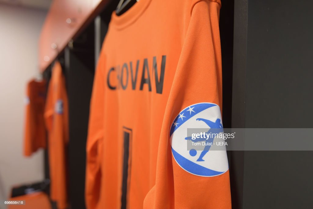 The shirt of goalkeeper Adrian Chovan of Slovakia hangs in the dressing room prior to the UEFA European Under-21 Championship match between Poland and Slovakia at Lublin Stadium on June 16, 2017 in Lublin, Poland.