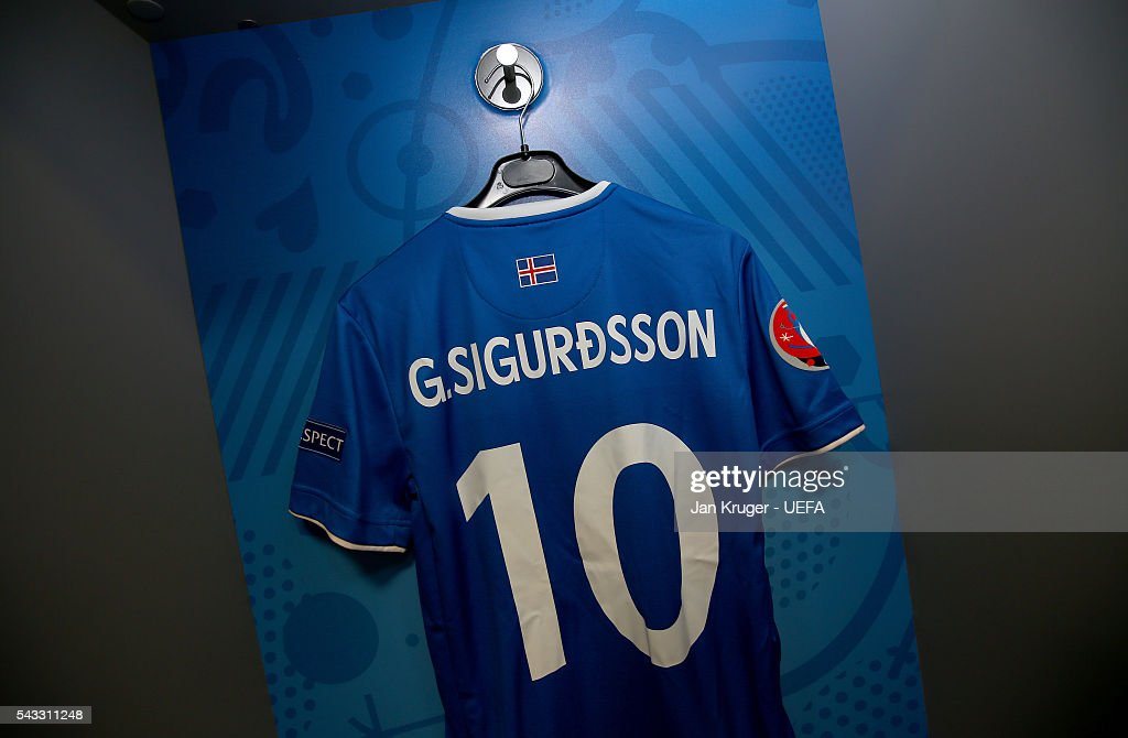 The shirt of Gylfi Sigurdsson is hung in the Iceland dressing room prior to the UEFA EURO 2016 round of 16 match between England and Iceland at Allianz Riviera Stadium on June 27, 2016 in Nice, France.