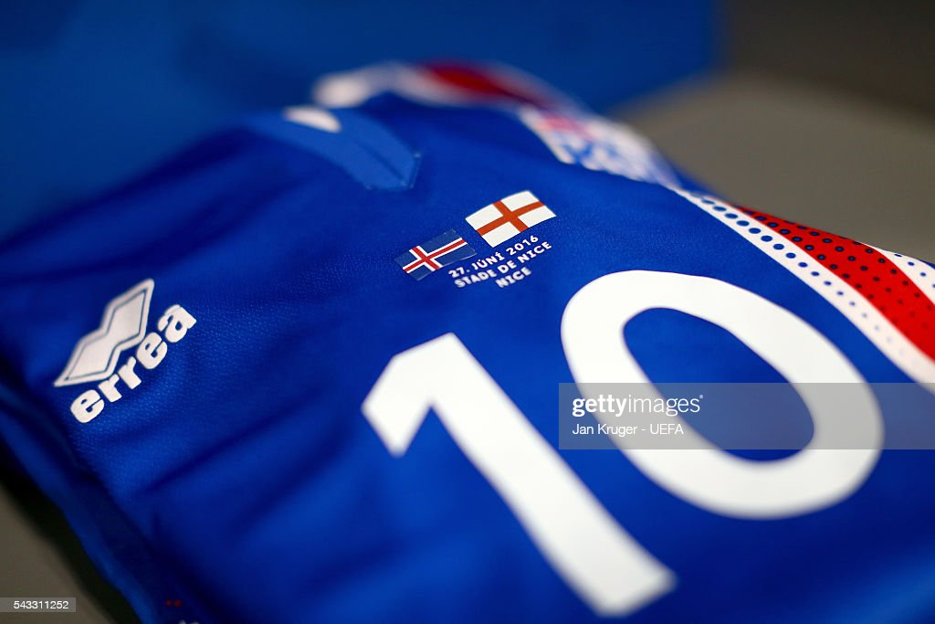 The shirt of Gylfi Sigurdsson is seen in the Iceland dressing room prior to the UEFA EURO 2016 round of 16 match between England and Iceland at Allianz Riviera Stadium on June 27, 2016 in Nice, France.