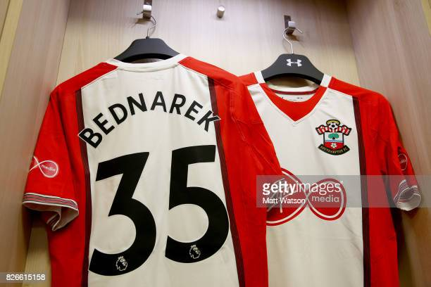 the shirt of Jan Bednarek prior to the preseason friendly between Southampton FC and Sevilla at St Mary's Stadium on August 5 2017 in Southampton...