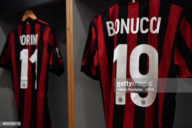 The shirt of Leonardo Bonucci of AC Milan hangs in the dressing room ahead the UEFA Europa League group D match between AC Milan and AEK Athens on...