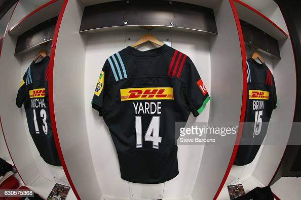 The shirt of Marland Yarde of Harlequins hangs in the dressing room prior to the Aviva Premiership Big Game 9 match between Harlequins and Gloucester...