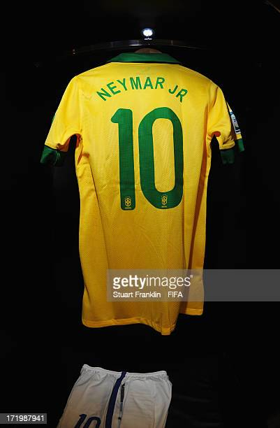 The shirt of Neymar on display in the Brazil changing room prior to the FIFA Confederations Cup Brazil 2013 Final match between Brazil and Spain at...