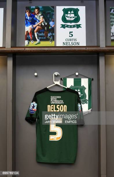 The shirt of Plymouth Argyle's Curtis Nelson hanging in the dressing room before the game
