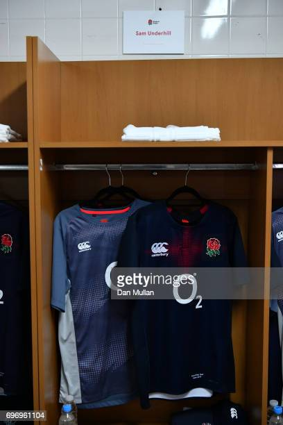 The shirt of Sam Underhill of England is displayed in the changing room prior to the ICBC Cup match between Argentina and England at Estadio...