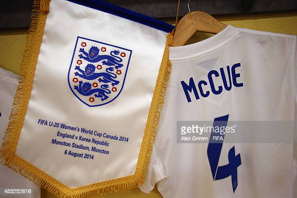 The shirt of Sherry McCue of England hangs in the dressing room prior to the FIFA U20 Women's World Cup Canada 2014 group C match between England and...
