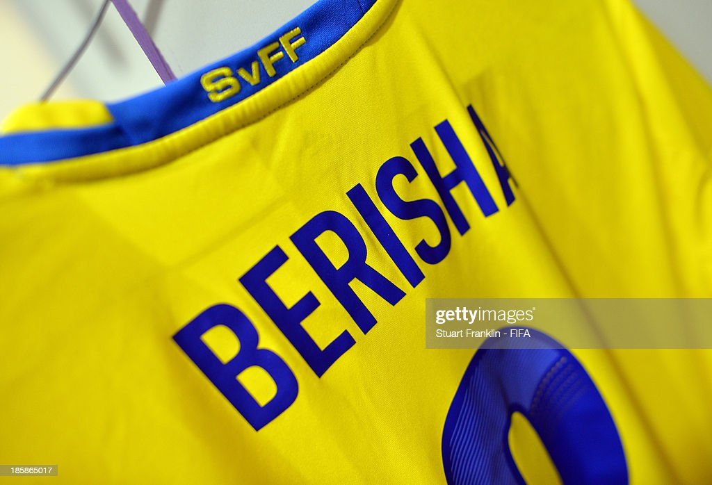 The shirt of Valmir Berisha of Sweden hangs in the players dressing room during the FIFA U 17 World Cup group F match between Sweden and Mexico at Khalifa Bin Zayed Stadium on October 25, 2013 in Al Ain, United Arab Emirates.