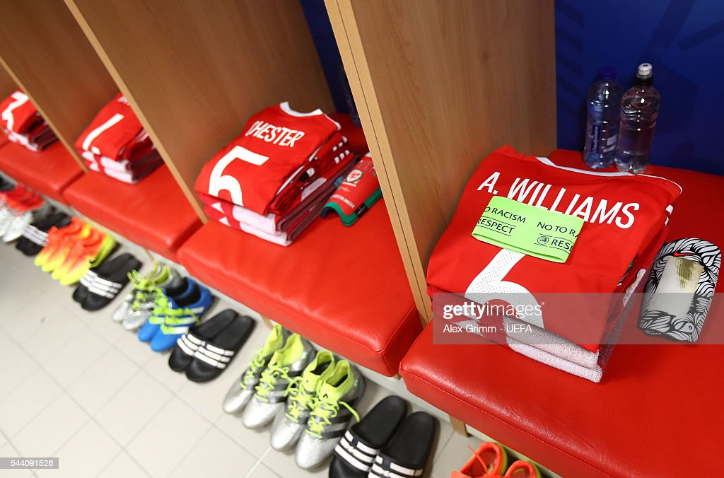 The shirt worn by Ashley Williams of Wales is seen in the dressing room prior to the UEFA EURO 2016 quarter final match between Wales and Belgium at Stade Pierre-Mauroy on July 1, 2016 in Lille, France.