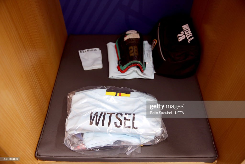 The shirt worn by Axel Witsel of Belgium is seen in the dressing room prior to the UEFA EURO 2016 round of 16 match bewtween Hungary and Belgium at Stadium Municipal on June 26, 2016 in Toulouse, France.