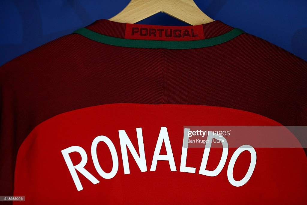 The shirt worn by Cristiano Ronaldo of Portugal is hung in the dressing room prior to the UEFA EURO 2016 quarter final match between Poland and Portugal at Stade Velodrome on June 30, 2016 in Marseille, France.
