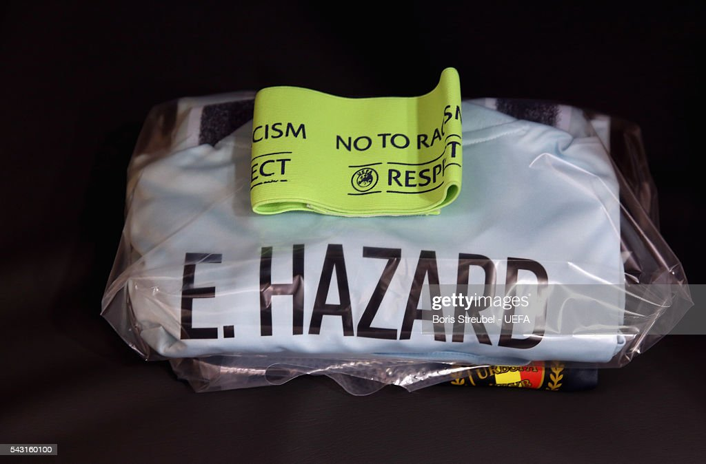 The shirt worn by Eden Hazard of Belgium is seen in the dressing room prior to the UEFA EURO 2016 round of 16 match bewtween Hungary and Belgium at Stadium Municipal on June 26, 2016 in Toulouse, France.