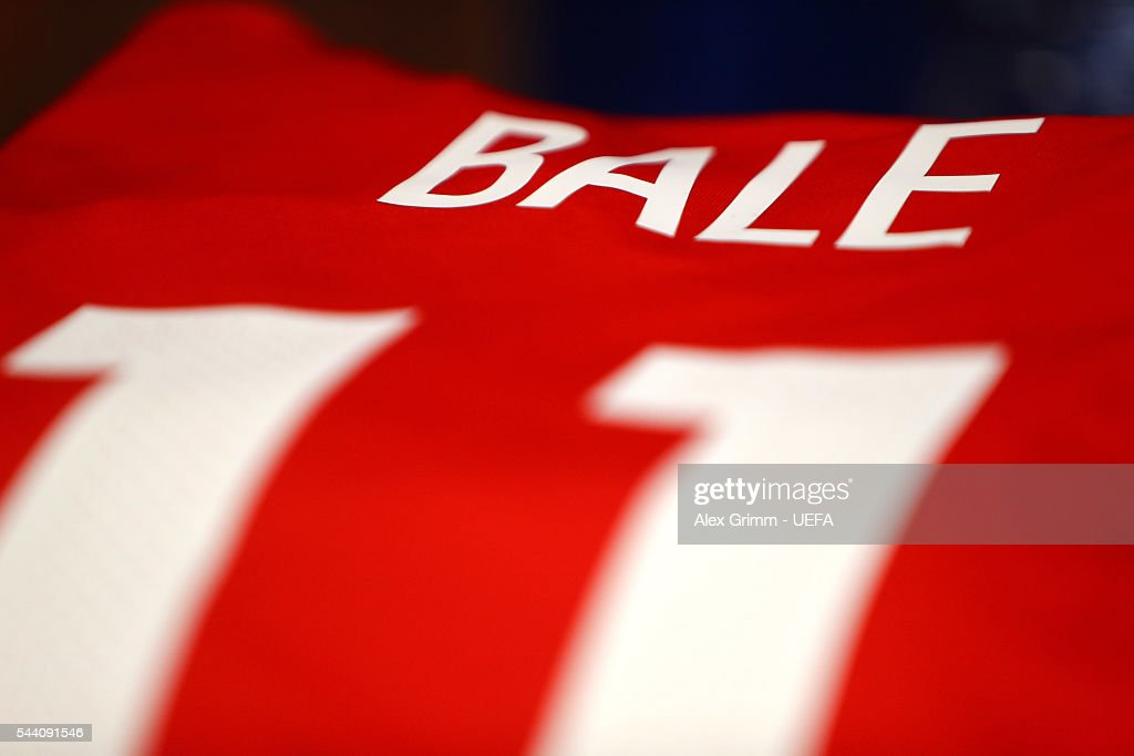 The shirt worn by Gareth Bale of Wales is seen in the dressing room prior to the UEFA EURO 2016 quarter final match between Wales and Belgium at Stade Pierre-Mauroy on July 1, 2016 in Lille, France.