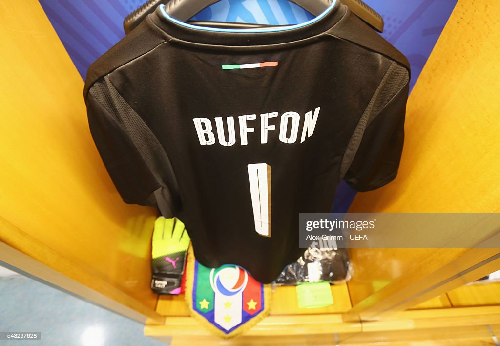 The shirt worn by Gianluigi Buffon of Italy is hung with the captain's armband and the match pennant in the dressing room prior to the UEFA EURO 2016 round of 16 match between Italy and Spain at Stade de France on June 27, 2016 in Paris, France.