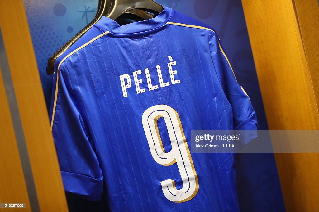 The shirt worn by Graziano Pelle of Italy is hung in the dressing room prior to the UEFA EURO 2016 round of 16 match between Italy and Spain at Stade de France on June 27, 2016 in Paris, France.