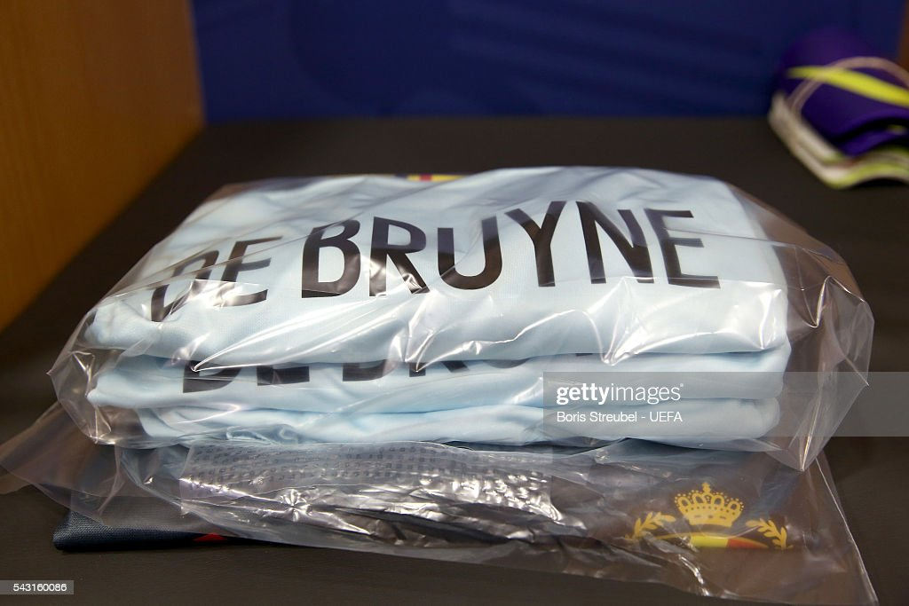 The shirt worn by Kevin De Bruyne of Belgium is seen in the dressing room prior to the UEFA EURO 2016 round of 16 match bewtween Hungary and Belgium at Stadium Municipal on June 26, 2016 in Toulouse, France.