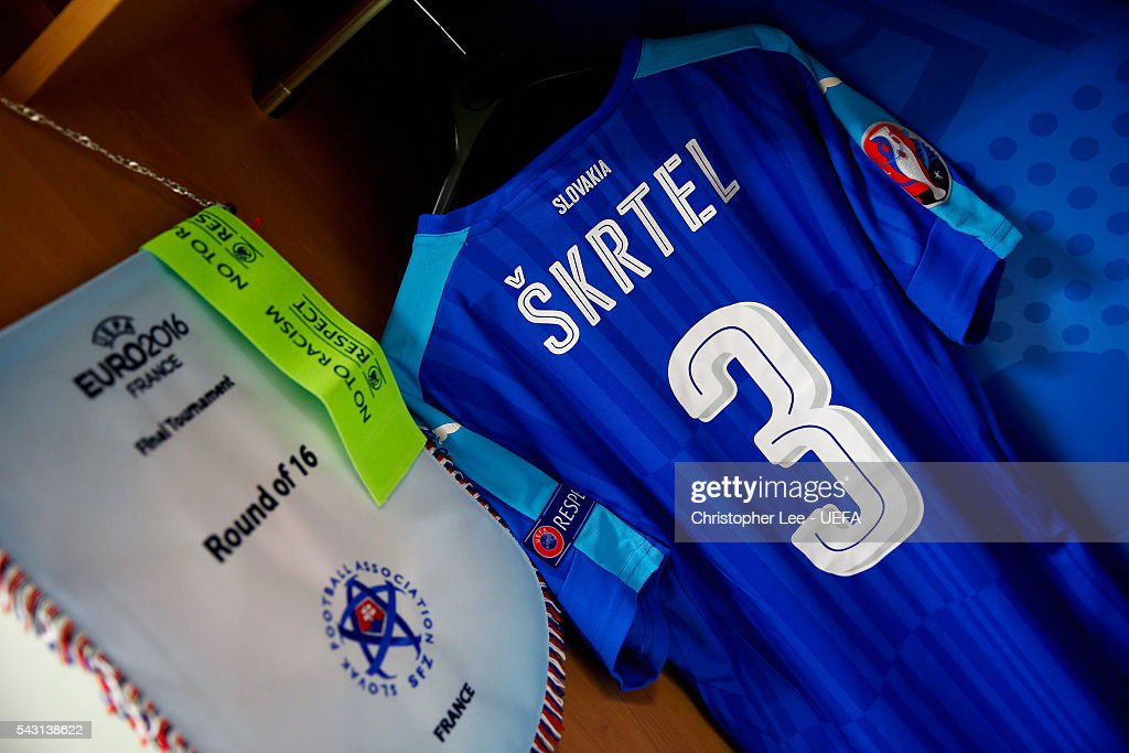 The shirt worn by Martin Skrtel of Slovakia is hung with the captain's armband and the matchday pennant in the dressing room prior to the UEFA EURO 2016 round of 16 match between Germany and Slovakia at Stade Pierre-Mauroy on June 26, 2016 in Lille, France.