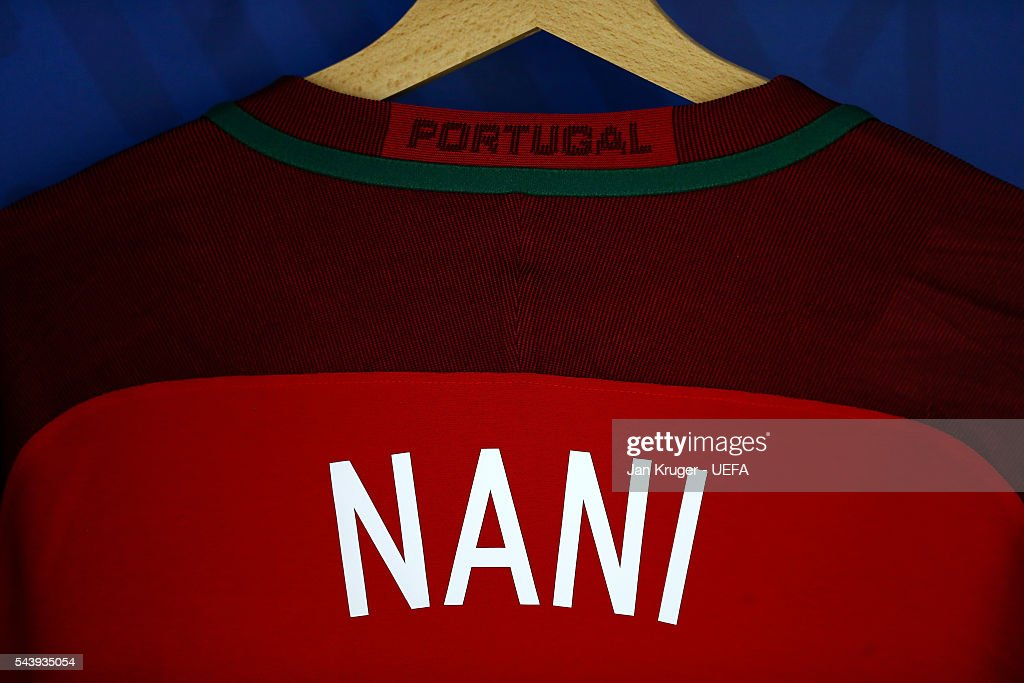The shirt worn by Nani of Portugal is hung in the dressing room prior to the UEFA EURO 2016 quarter final match between Poland and Portugal at Stade Velodrome on June 30, 2016 in Marseille, France.