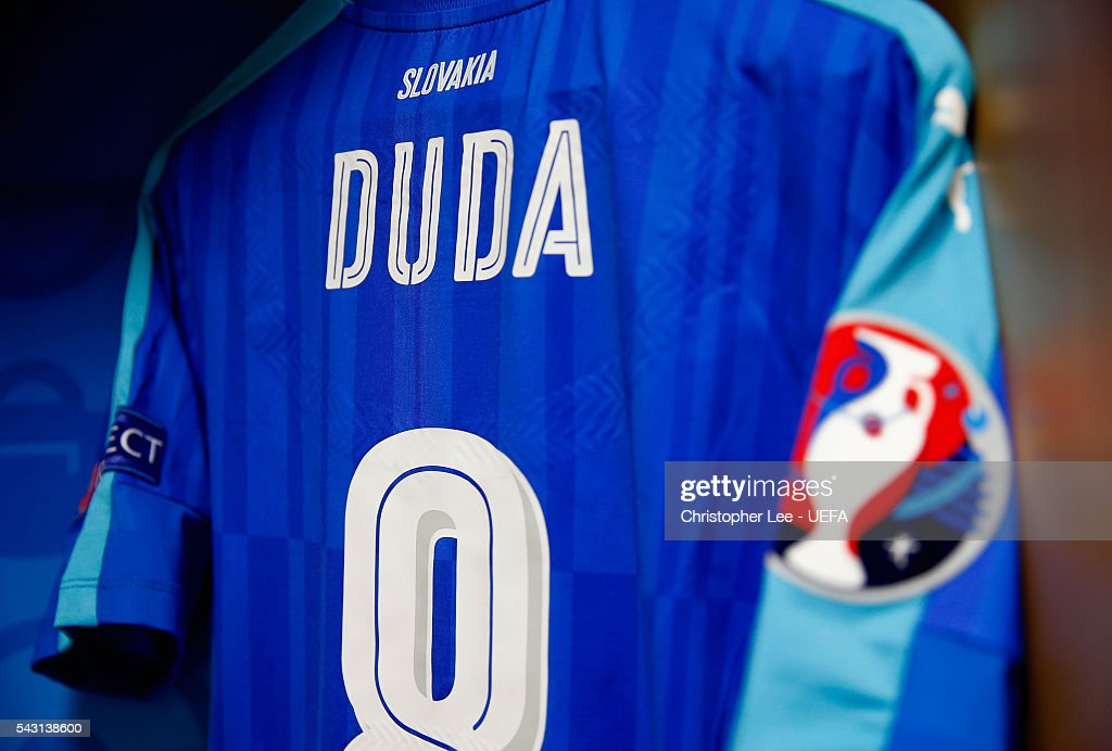 The shirt worn by Ondrej Duda of Slovakia is hung in the dressing room prior to the UEFA EURO 2016 round of 16 match between Germany and Slovakia at Stade Pierre-Mauroy on June 26, 2016 in Lille, France.