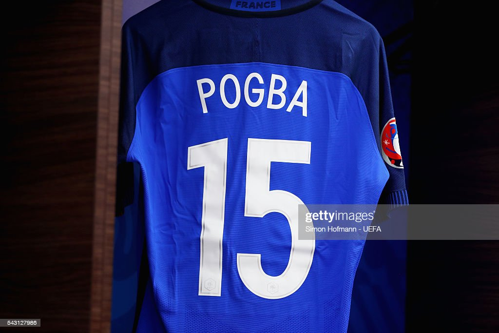 The shirt worn by Paul Pogba of France is hung in the dressing room prior to the UEFA EURO 2016 round of 16 match between France and Republic of Ireland at Stade des Lumieres on June 26, 2016 in Lyon, France.