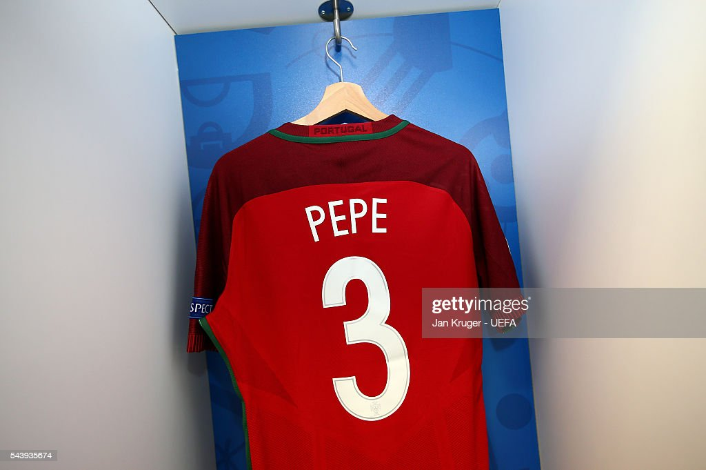 The shirt worn by Pepe of Portugal is hung in the dressing room prior to the UEFA EURO 2016 quarter final match between Poland and Portugal at Stade Velodrome on June 30, 2016 in Marseille, France.