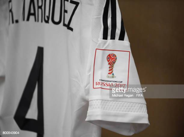 The shirt worn by Rafael Marquez of Mexico is hung in the dressing room prior to the FIFA Confederations Cup Russia 2017 Group A match between Mexico...