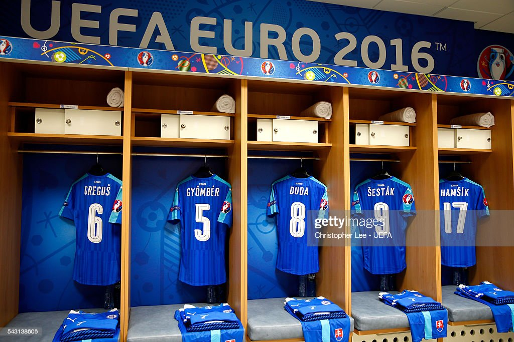 The shirt worn by Slovakia players are hung in the dressing room prior to the UEFA EURO 2016 round of 16 match between Germany and Slovakia at Stade Pierre-Mauroy on June 26, 2016 in Lille, France.