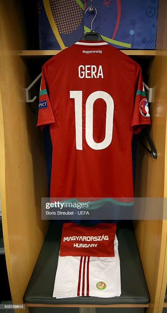 The shirt worn by Zoltan Gera of Hungary is hung in the dressing room the UEFA EURO 2016 round of 16 match bewtween Hungary and Belgium at Stadium Municipal on June 26, 2016 in Toulouse, France.