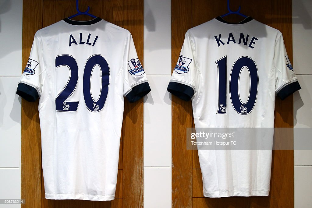 The shirts of Dele Alli and Harry Kane hang in the Tottenham Hotspur changing room prior to the Barclays Premier League match between Tottenham Hotspur and Watford at White Hart Lane on February 6, 2016 in London, England.
