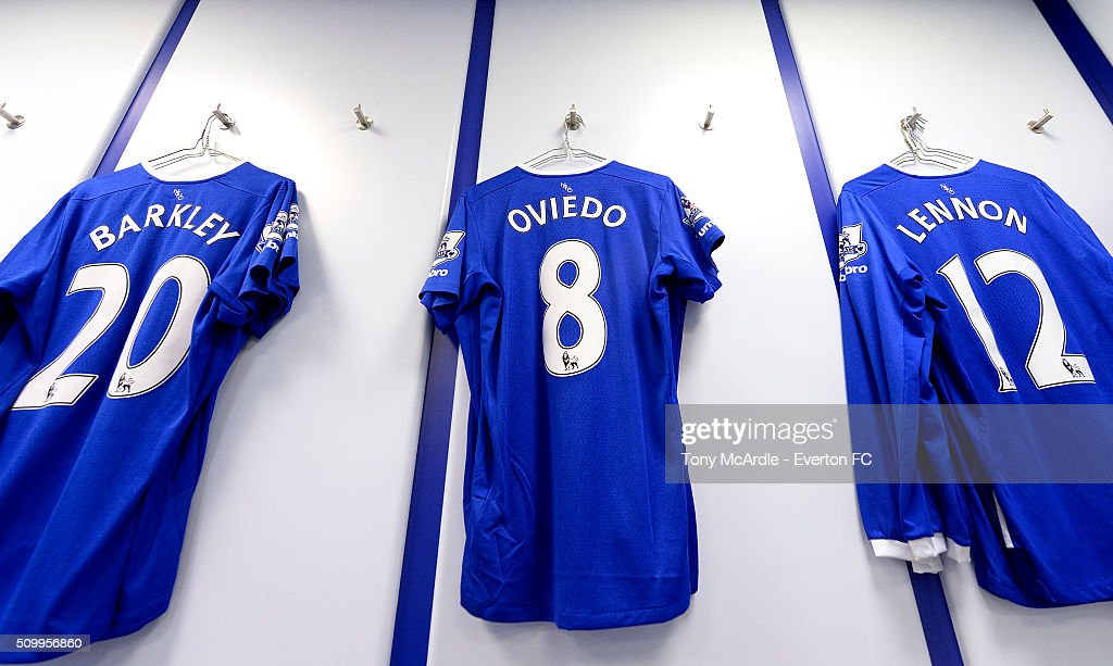The shirts of Ross Barkley Bryan Oviedo and Aaron Lennon hang in the home dressing room ahead of the Barclays Premier League match between Everton and West Bromwich Albion at Goodison Park on February 13, 2016 in Liverpool, England.