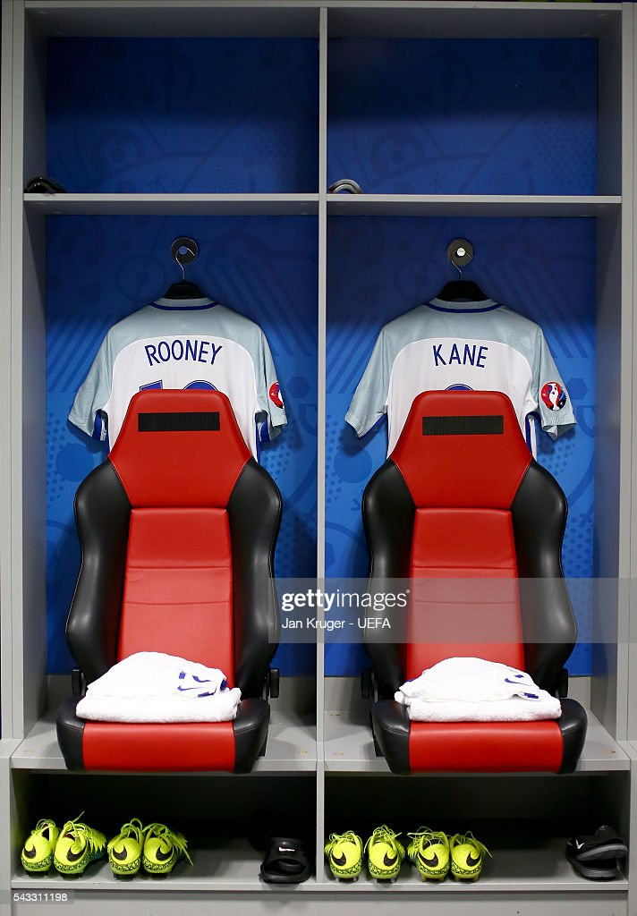 The shirts of Wayne Rooney and Harry Kane is hung in the England dressing room prior to the UEFA EURO 2016 round of 16 match between England and Iceland at Allianz Riviera Stadium on June 27, 2016 in Nice, France.