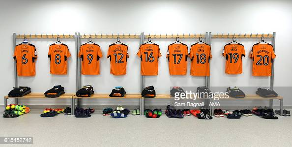 The shirts of Wolverhampton Wanderers hang in the away dressing room before kick off in the Sky Bet Championship match between Brighton Hove Albion...