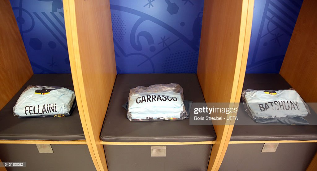 The shirts worn by Belgium players are seen in the dressing room the UEFA EURO 2016 round of 16 match bewtween Hungary and Belgium at Stadium Municipal on June 26, 2016 in Toulouse, France.