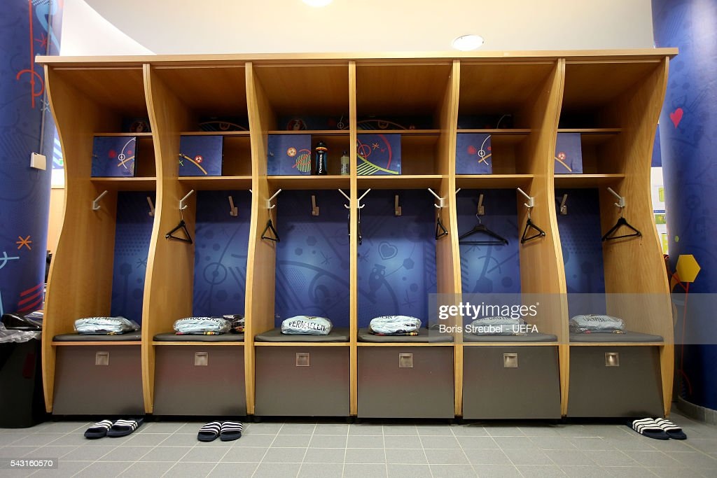 The shirts worn by Belgium players are seen in the dressing room prior to the UEFA EURO 2016 round of 16 match bewtween Hungary and Belgium at Stadium Municipal on June 26, 2016 in Toulouse, France.