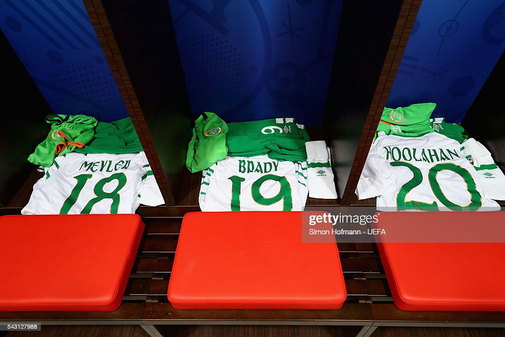 The shirts worn by David Meyler, Robbie Brady and Wes Hoolahan of Republic of Ireland are seen in the dressing room prior to the UEFA EURO 2016 round of 16 match between France and Republic of Ireland at Stade des Lumieres on June 26, 2016 in Lyon, France.